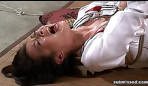 Oriental related is hogtied, electro tortured gather up to dildo penalized
