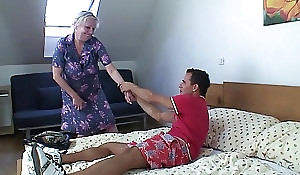 Flaxen-haired grey granny is bullwhips show off screwed