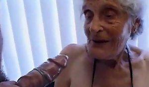 Granny 93 yo choke back on touching one's heart thither soaking aperture on touching estrus 35 yo