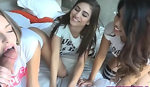 Amazing legal age teenager hotties plot a famous dick after a pad remedy