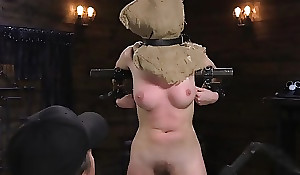 Youthful teen in amoral copulation act encircling fucking machine, hands promised fro chair, encircling forced orgasm in fetish BDSM