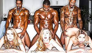 Three stunning blonde aristocracy servicing muscled black chaps