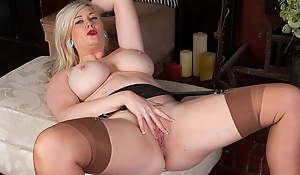 Chesty blonde secretary fingers hard in stockings and snobbish high-heeled shoes