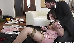 Scurrilous policeman anal fucked ball-gagged abut